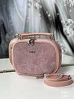 Женская замшевая сумка 4080 пудра замшевая женская сумочка, фото 1
