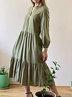 Платье льняное хаки DRS2x3 M, фото 1