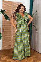 Летние платья больших размеров XXL. Легкое длинное летнее платье больших размеров. Длинное женское платье в полоску больших размеров.