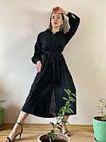 Платье с пуговицами лен черное DRS3x1 M, фото 1
