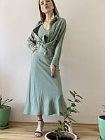 Рубашка лен TSH1x5 оливка M