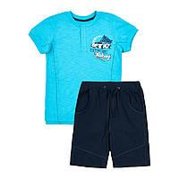 Повседневный костюм для мальчика шорты и футболка на кнопках 134-146 р