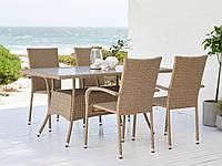 Садовый набор мебели стол 84х150 см + 4 кресла - искусственный ротанг