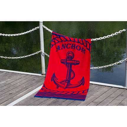 Пляжное полотенце 75х150 см хлопок велюр Якорь красный, фото 2