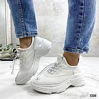Женские белые кроссовки текстиль / сетка, фото 1