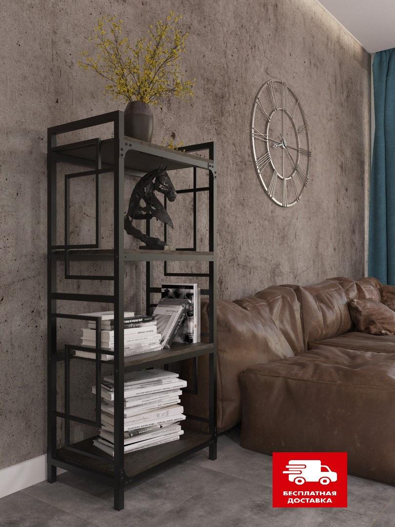 Стеллаж металлический черный на четыре полки в стиле loft серии Квадро Металл-Дизайн