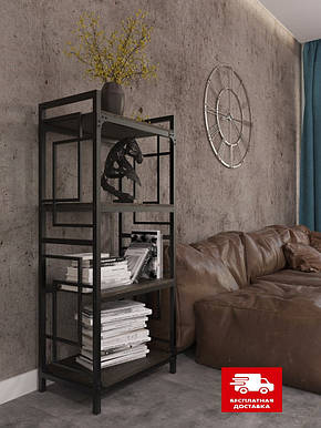 Стеллаж металлический черный на четыре полки в стиле loft серии Квадро Металл-Дизайн, фото 2