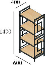 Стеллаж металлический черный на четыре полки в стиле loft серии Квадро Металл-Дизайн, фото 3