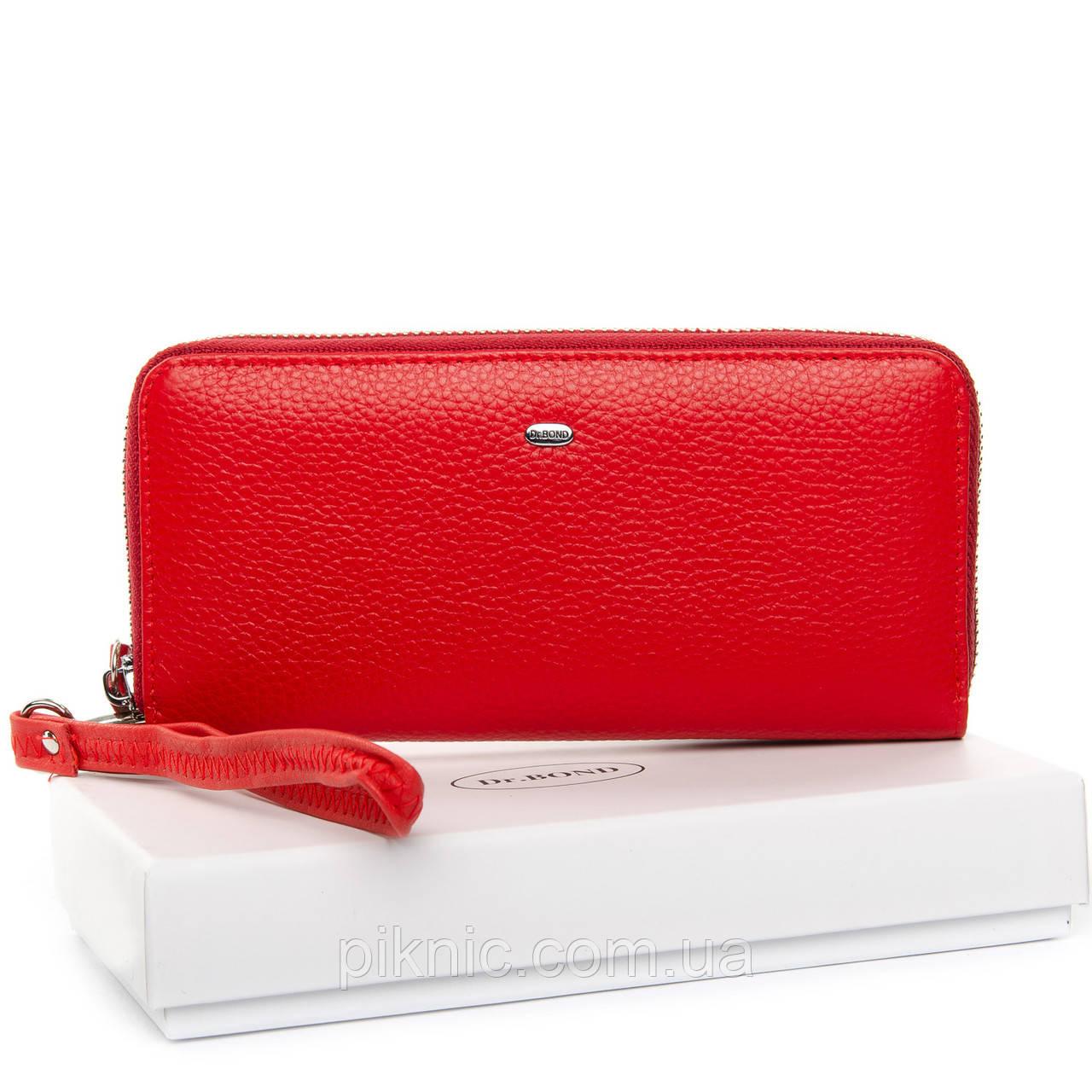 Женский кожаный кошелек на молнии Dr Bond. Из натуральной кожи. Красный