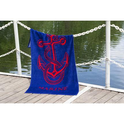 Пляжное полотенце 75х150 см хлопок велюр Якорь синий, фото 2