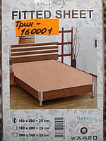 Трикотажная простынь на резинке Хлопок Турция 160*200 Персик