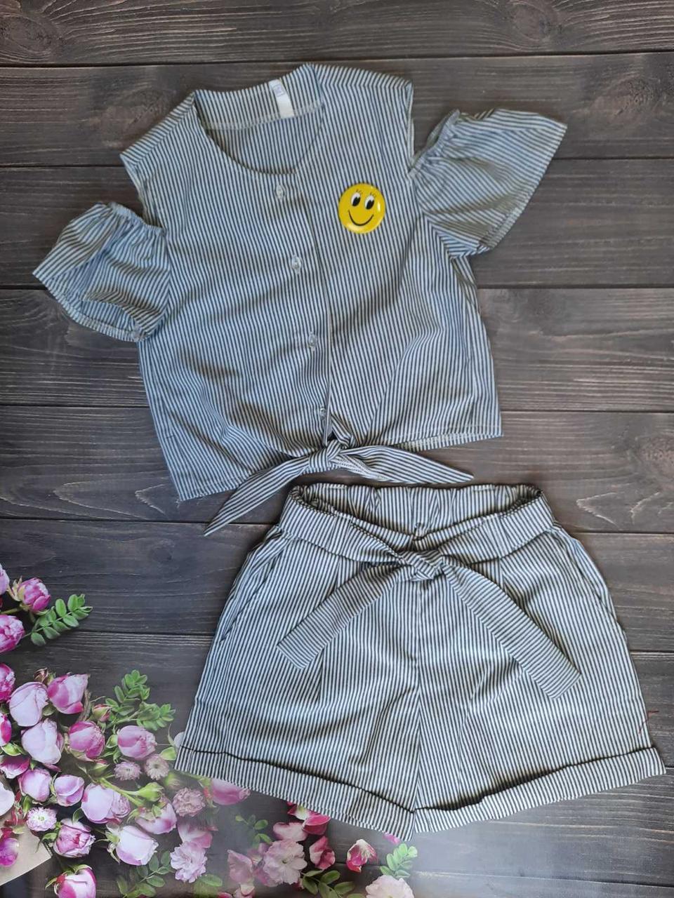 Комплект топ и шорты для девочки в полоску смайликр. 128-152