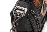Модная маленькая женская сумка. Сумка женская стильная из экокожи. Сумочка женская (черная), фото 7