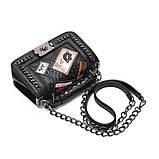 Модная маленькая женская сумка. Сумка женская стильная из экокожи. Сумочка женская (черная), фото 8