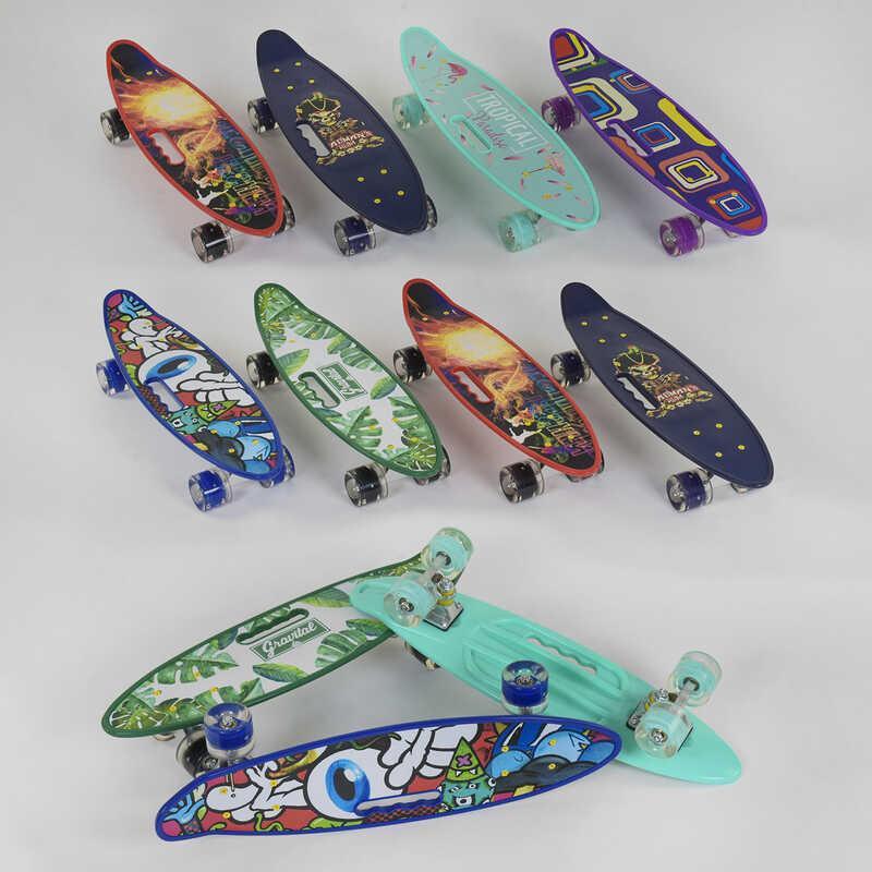 Скейт Пенни борд C 40310 (8) Best Board, 6 ЦВЕТОВ, СВЕТ, доска=59см, колёса PU  d=6см