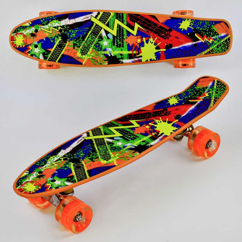 Скейт Р 12305 (8) Best Board, доска=55см, колёса PU, СВЕТЯТСЯ, d=6см