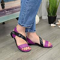 Босоножки женские кожаные на низком ходу, цвет фуксия/черный. 39 размер