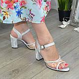 Женские босоножки на высоком каблуке, натуральная замша и лаковая кожа. 39 размер, фото 3