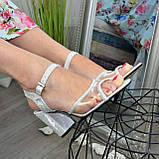 Женские босоножки на высоком каблуке, натуральная замша и лаковая кожа. 39 размер, фото 4