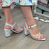 Женские босоножки на высоком каблуке, натуральная замша и лаковая кожа. 39 размер, фото 5