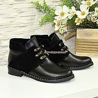 Ботинки женские демисезонные на невысоком каблуке, натуральная кожа и замша. 37 размер