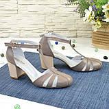 Женские кожаные босоножки на устойчивом каблуке, цвет визон, фото 3