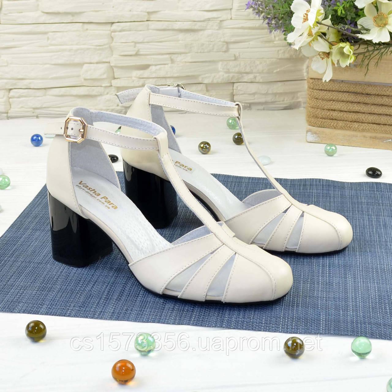 Женские кожаные босоножки на устойчивом каблуке, цвет бежевый. 36 размер
