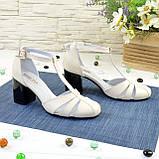 Женские кожаные босоножки на устойчивом каблуке, цвет бежевый. 36 размер, фото 2