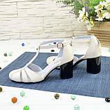 Женские кожаные босоножки на устойчивом каблуке, цвет бежевый. 36 размер, фото 3