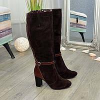 Сапоги женские коричневые на высоком устойчивом каблуке, натуральная замша и кожа рабоат