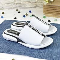 Женские кожаные шлепанцы спортивного стиля, цвет белый. 41 размер