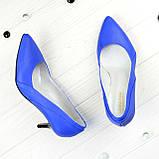 Туфли женские кожаные на маленькой шпильке, цвет электрик, фото 2