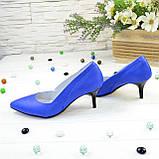 Туфли женские кожаные на маленькой шпильке, цвет электрик, фото 3