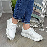 Туфли кожаные белые женские на утолщенной подошве. 39 размер, фото 2