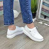 Туфли кожаные белые женские на утолщенной подошве. 39 размер, фото 3