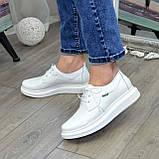 Туфли кожаные белые женские на утолщенной подошве. 39 размер, фото 4