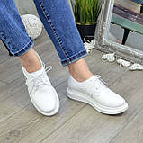 Туфли кожаные белые женские на утолщенной подошве. 39 размер, фото 5