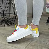 Кеды женские кожаные на утолщенной подошве, цвет белый/желтый. 37 размер, фото 5