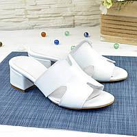 Шлепанцы кожаные женские на маленьком каблуке, цвет белый. 36 размер