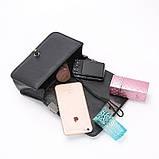Модна маленька жіноча сумка. Сумка жіноча стильна з екошкіри. Сумочка жіноча (рожева), фото 7