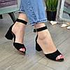 Босоножки женские замшевые на устойчивом каблуке, цвет черный, фото 2