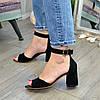 Босоножки женские замшевые на устойчивом каблуке, цвет черный, фото 3