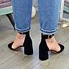 Босоножки женские замшевые на устойчивом каблуке, цвет черный, фото 4