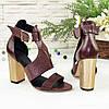 Женские босоножки на каблуке, натуральная кожа и замша с лазерным напылением бордового цвета, фото 3