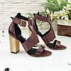 Женские босоножки на каблуке, натуральная кожа и замша с лазерным напылением бордового цвета, фото 4