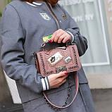 Модна маленька жіноча сумка. Сумка жіноча стильна з екошкіри. Сумочка жіноча (рожева), фото 3