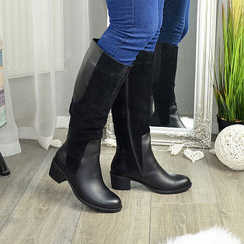 Сапоги зимние на невысоком устойчивом каблуке, натуральная кожа и замша. 37 размер