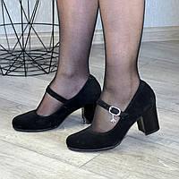Туфли замшевые женские на устойчивом каблуке. 39 размер