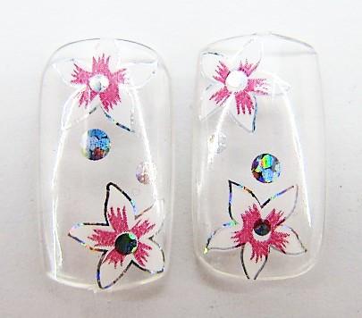 Ногти накладные в пакете, 12 шт с рисунком цветочки клейкой основой