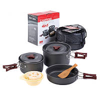 Набор посуды Naturehike 3-4 NH (2 каструлі+ кришки+сковорода) NH15T203-G Сірий